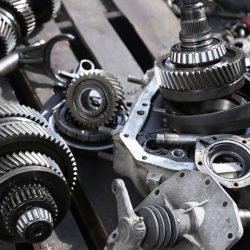 gears and other gearbox parts close-up