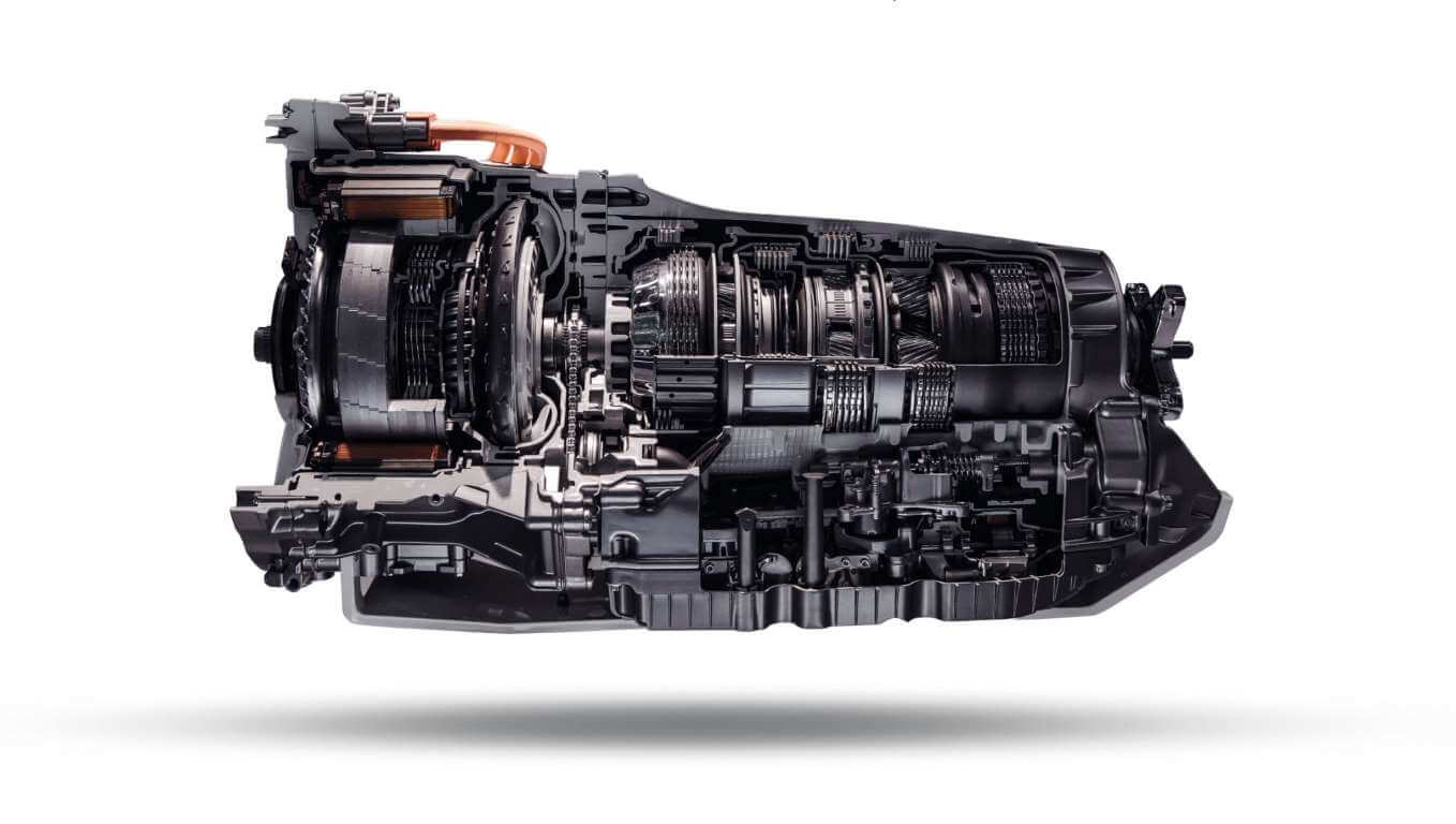 Automatic transmission gearbox in cross section. Automobile transmission gearbox on white background.